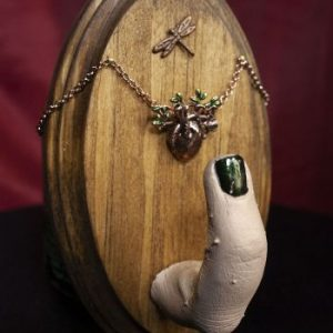Human Finger with Heart and Dragon Fly